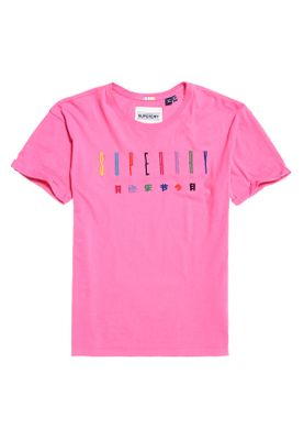 Superdry T-Shirt Damen PAULO EMBROIDERED TEE Papaya Pink – Bild 0