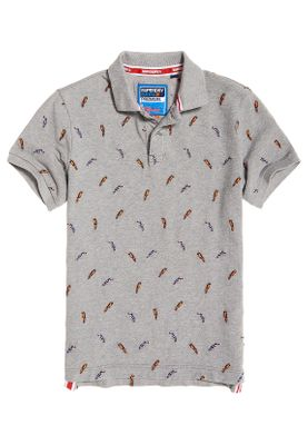 Superdry Polo Herren BERMUDA POLO Bird Paradiese Light Grey Grit
