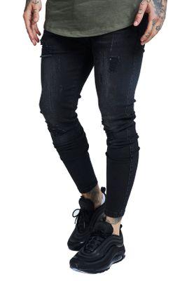 SikSilk Herren Jeans SKINNY DISTRESSED DENIM SS-12995 Schwarz Washed Black – Bild 1