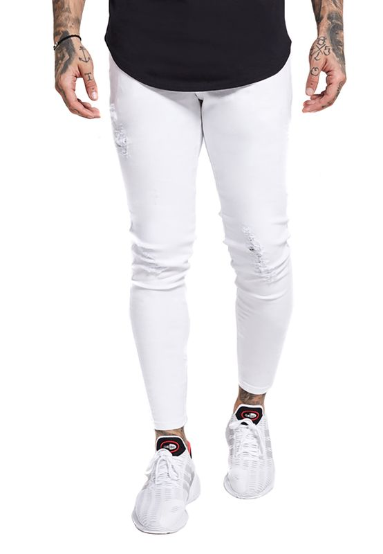 SikSilk Herren Jeans SKINNY DISTRESSED DENIM SS-13121 Weiss White – Bild 0