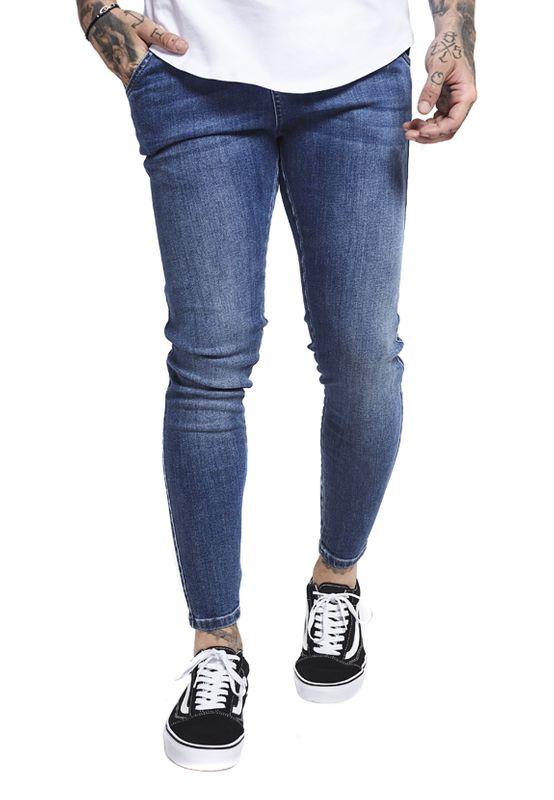 SikSilk Herren Jeans NON DISTRESSED DROPCROTCH SS-13002 Blau Midstone – Bild 0