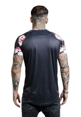 SikSilk Herren T-Shirt S/S OIL PAINT CURVED HEM RAGLAN TEE SS-13828 Schwarz Black – Bild 2