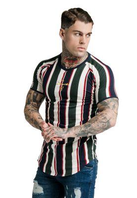 SikSilk Herren T-Shirt S/S ROTARY STRIPE RAGLAN GYM TEE Mehrfarbig Off White/Green/Navy – Bild 2