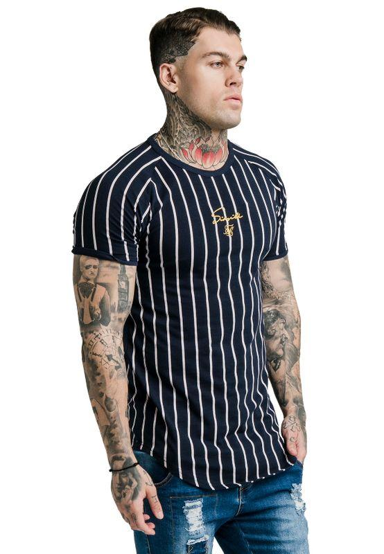 SikSilk Herren T-Shirt RAGLAN GYM TEE Mehrfarbig Navy/White – Bild 1