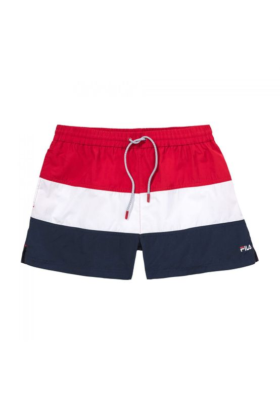 Fila Badehose Herren SALOSO SWIM SHORTS 687203 G06 Black Iris/Bright White/True Red Ansicht