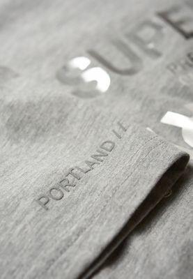 Superdry T-Shirt Damen PREMIUM BRAND REFLECTION PORTLAND Grey Marl – Bild 2