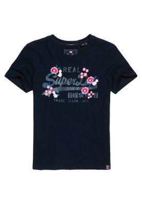 Superdry T-Shirt Damen V LOGO EMB FLORAL ENTRY TEE Eclipse Navy – Bild 0
