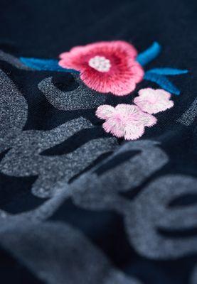 Superdry T-Shirt Damen V LOGO EMB FLORAL ENTRY TEE Eclipse Navy – Bild 1