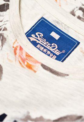Superdry T-Shirt Damen V LOGO PHOTO ROSE AOP ENTRY TE Oatmeal Marl – Bild 1