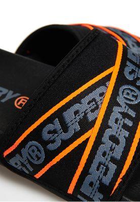 Superdry Bade-Sandalen Herren SUPERDRY CITY BEACH SLIDE Black Charcoal Hazard Orange  – Bild 2