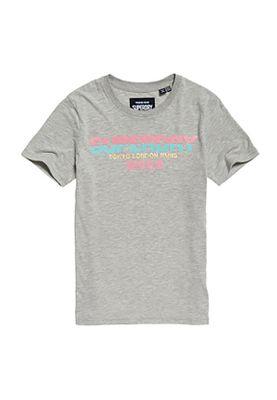 Superdry T-Shirt Damen CITY NIGHTS SPLICE ENTRY TEE Grey Marl
