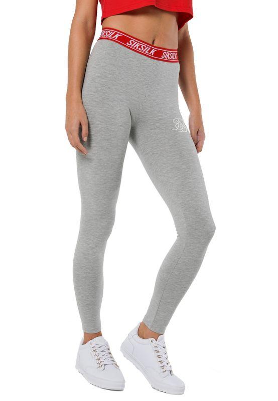 SikSilk Leggings Damen ELASTIC WAIST LEGGINGS SSW-1066 Grey Marl – Bild 1