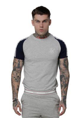 SikSilk T-Shirt Herren RAGLAN TAPED SPORTS GYM TEE SS-15111 Grey Marl – Bild 0