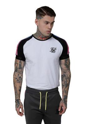 SikSilk T-Shirt Herren S/S RAGLAN PANEL FADE TECH TEE SS-15172 White – Bild 1