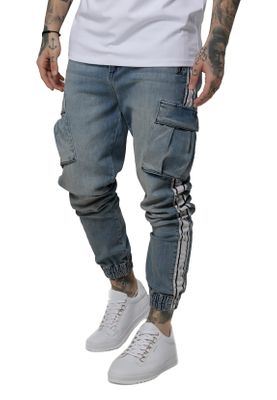 SikSilk Jeans Herren CARGO Pants SS-15322 Light Blue Denim  – Bild 1