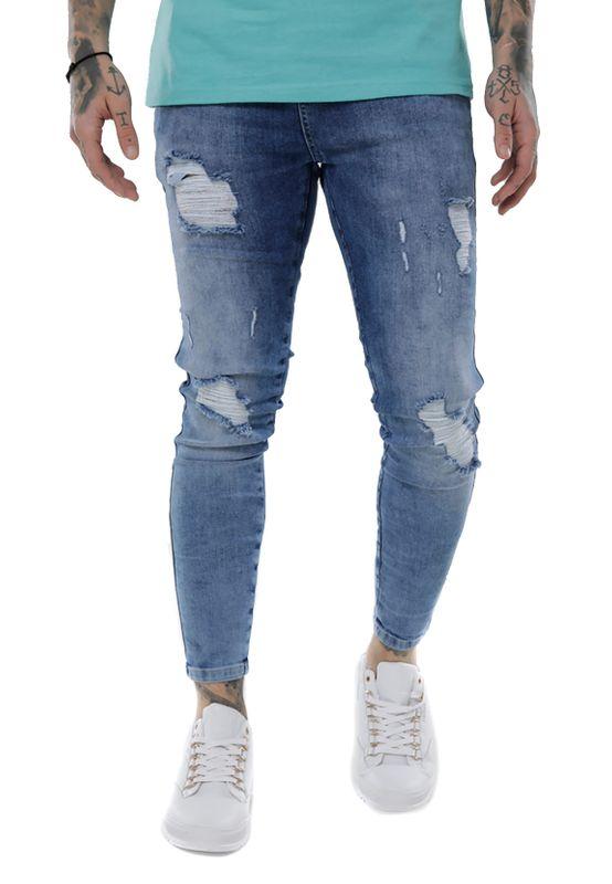 SikSilk Jeans Herren DISTRESSED SKINNY SS-14006 Mid Wash Denim Ansicht