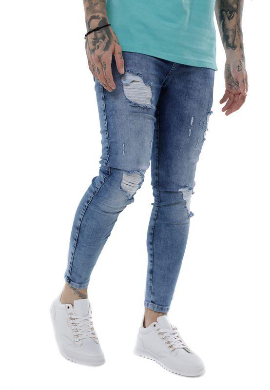 SikSilk Jeans Herren DISTRESSED SKINNY SS-14006 Mid Wash Denim – Bild 2