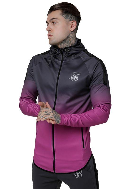 SikSilk Sweater Herren RAGLAN ATHLETE TAPED HOODIE SS-14695 Grey Pink – Bild 2