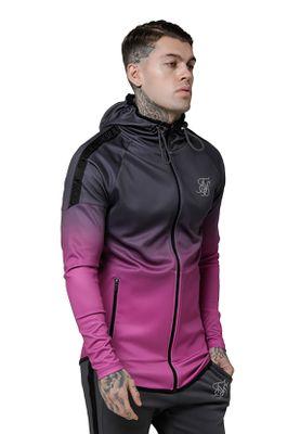 SikSilk Sweater Herren RAGLAN ATHLETE TAPED HOODIE SS-14695 Grey Pink – Bild 3