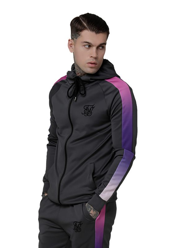 SikSilk Sweater Herren FADE PANEL ZIP THROUGH HOODIE SS-15218 Urban Grey Neon Tri Fade – Bild 1