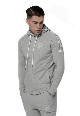 SikSilk Sweater Herren SPORTS ELASTICATED ZIP THROUGH HOODIE SS-14851 Grey Marl – Bild 0