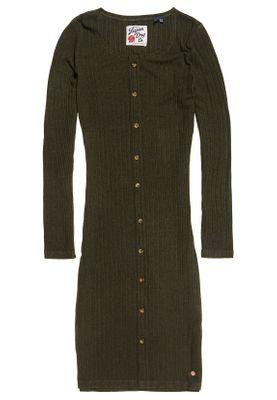 Superdry Kleid Damen BUTTON DOWN RIB MINI DRESS Washed Khaki – Bild 0
