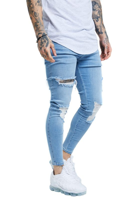 SikSilk Jeans Herren DISTRESSED SKINNY SS-14005 Light Wash Denim Ansicht