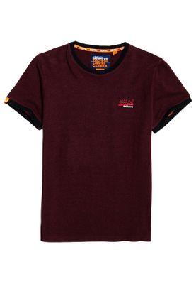 Superdry T-Shirt Herren ORANGE LABEL CALI RINGER TEE Buck Burgundy Marl Texture