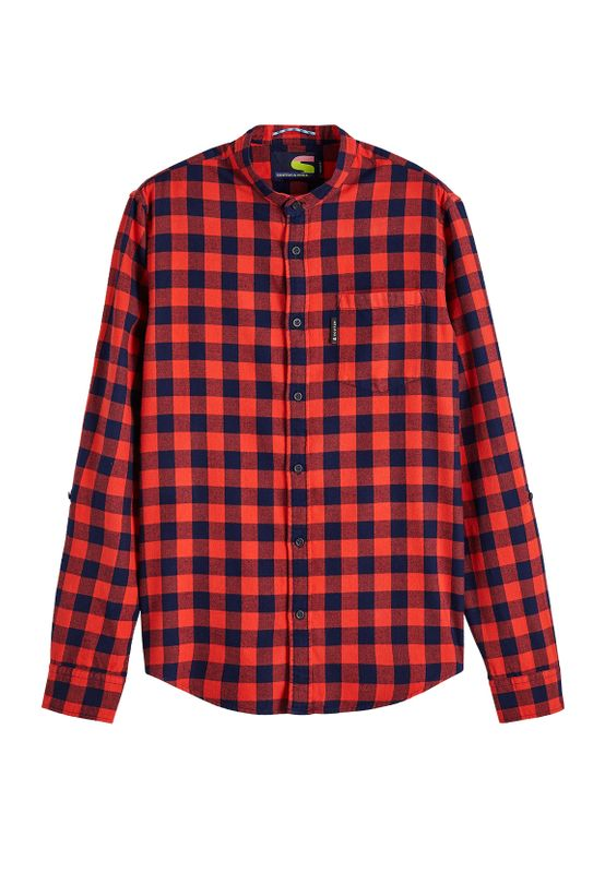 Scotch & Soda Hemd Herren CHECK FLANNEL SHIRT 152153 Rot Blau 0217  Ansicht