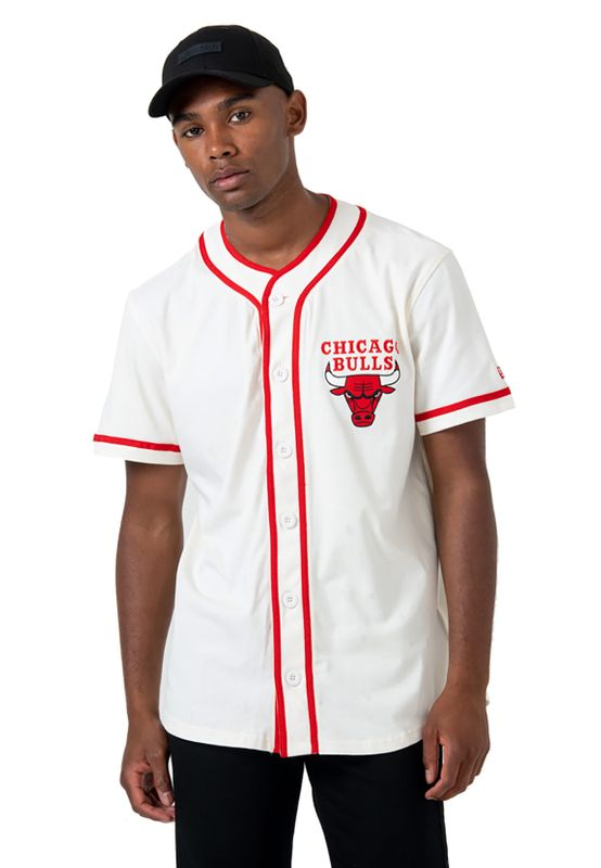 New Era NBA Piping Button Up Shirt Herren CHICAGO BULLS Beige Ansicht