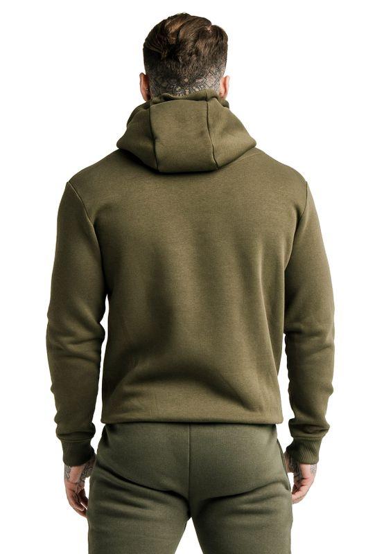 SikSilk Zipper Herren ZIP THROUGH FUNNEL NECK HOODIE SS-16073 Khaki – Bild 3