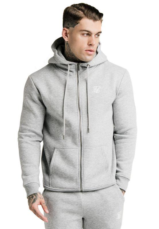 SikSilk Zipper Herren ZIP THROUGH FUNNEL NECK HOODIE SS-16072 Grey – Bild 0