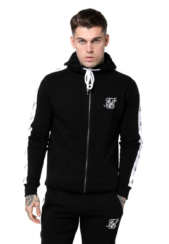 SikSilk Zipper Herren INSET ZIP THROUGH HOODIE SS-14828 Black & White – Bild 0