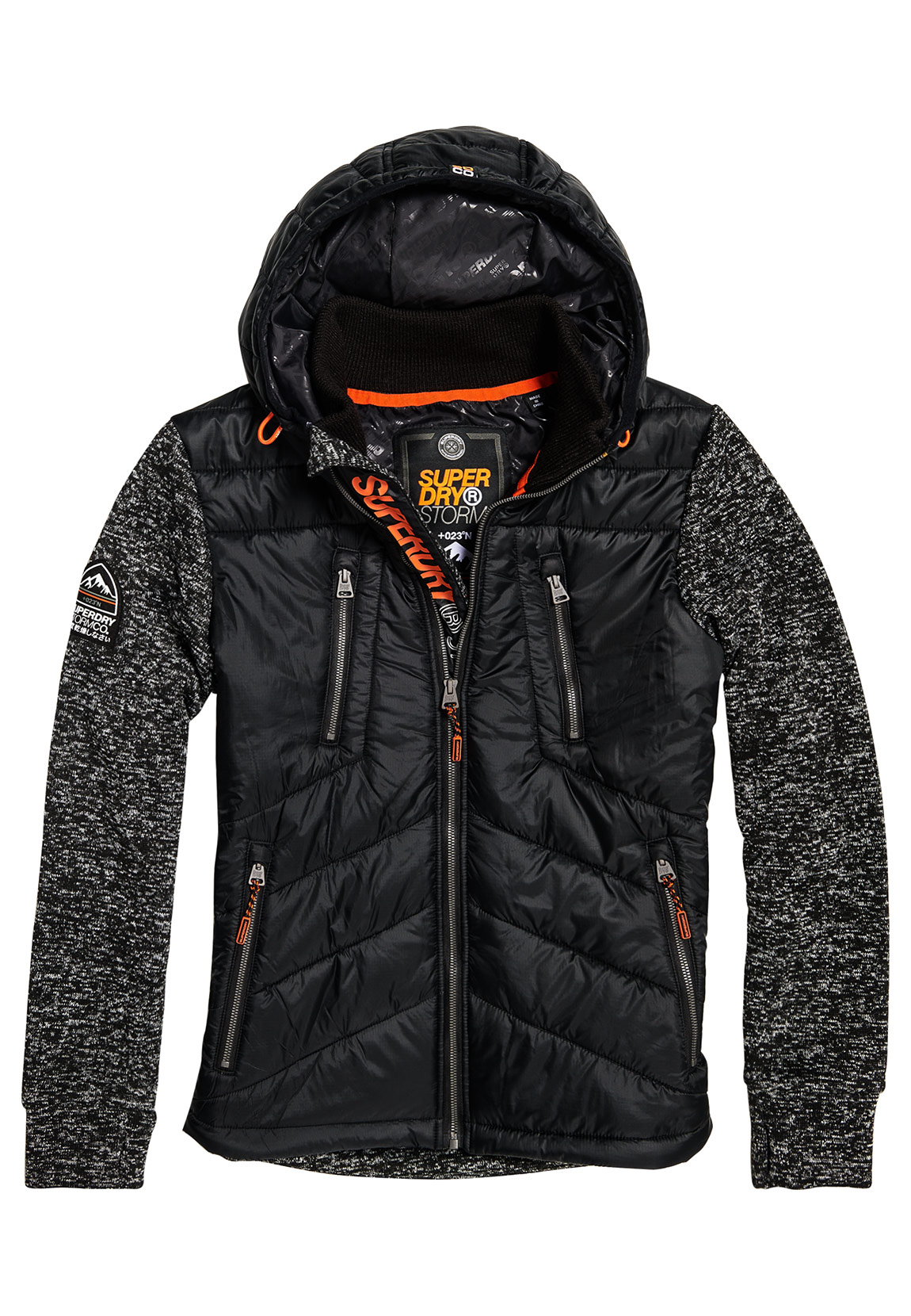 best website afdca 74955 Superdry Jacke Herren STORM HYBRID ZIPHOOD Gritty Black