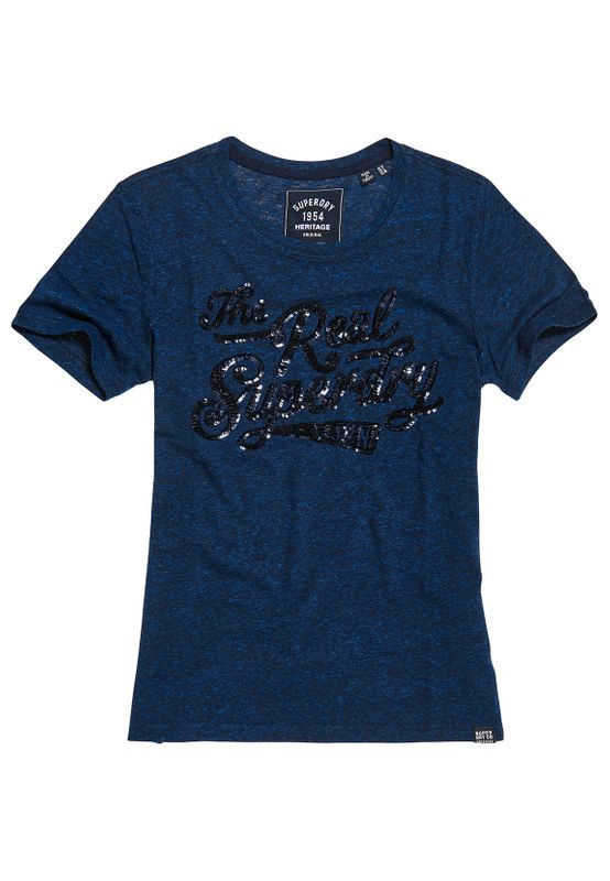 Superdry T-Shirt Damen The Real SEQUIN ENTRY TEE Rugged Navy Ansicht