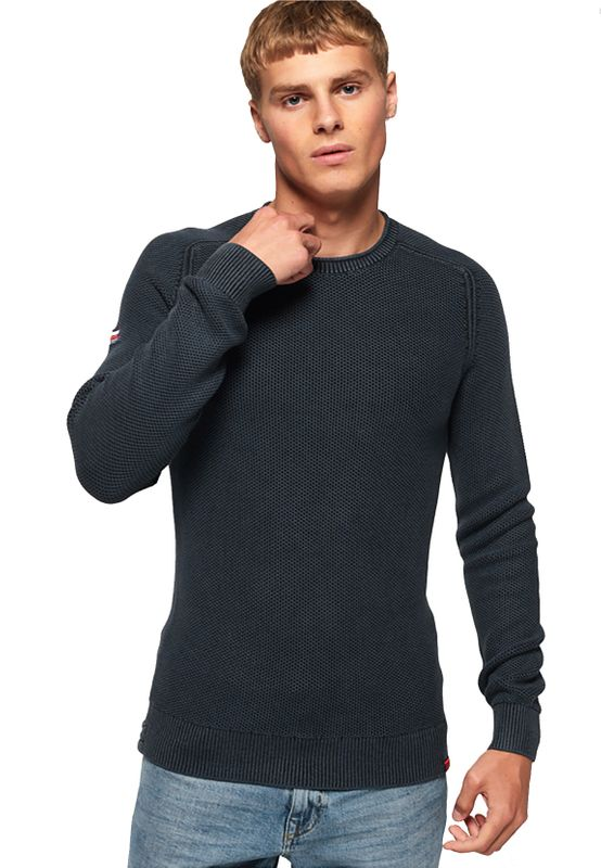 Superdry Pullover Herren GARMENT DYED L.A. TEXTURED CRE Dry Storm Navy Ansicht