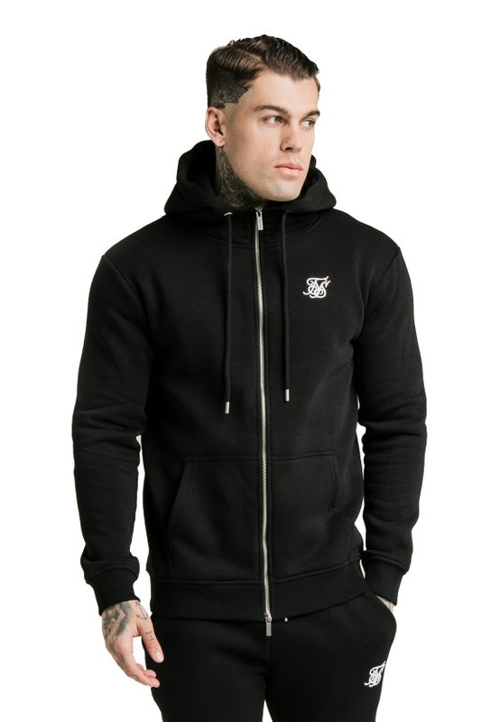 SikSilk Zipper Herren ZIP THROUGH FUNNEL NECK HOODIE SS-16070 Black Ansicht