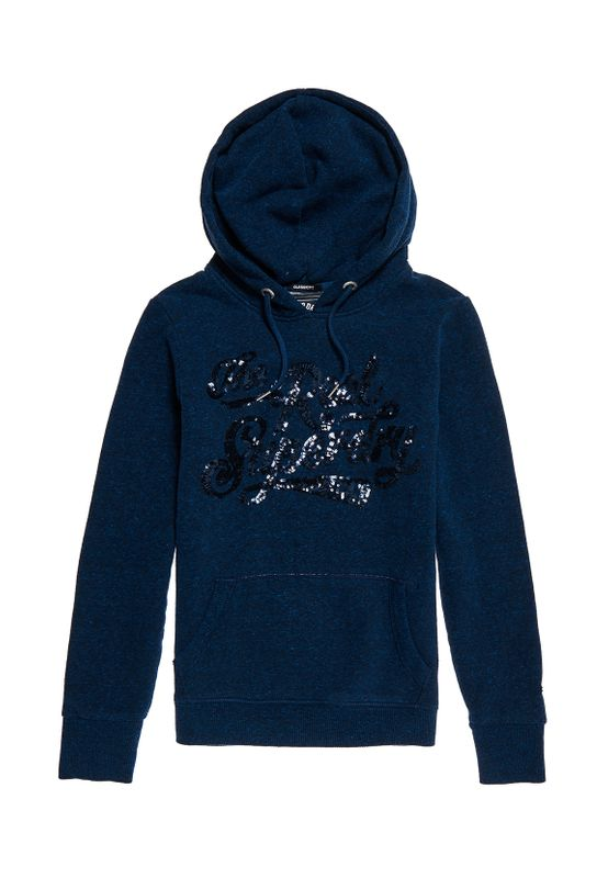 Superdry Hoody Damen THE REAL TONAL SEQUIN ENTRY HO Rugged Navy Ansicht