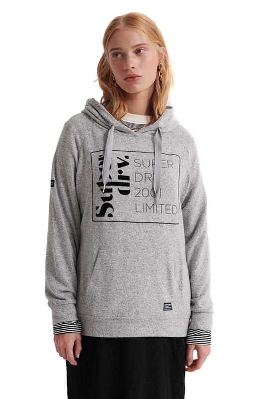 Superdry Hoody Damen SUPERSOFT OVERSIZED GRAPHIC HOOD Grey Marl Ansicht