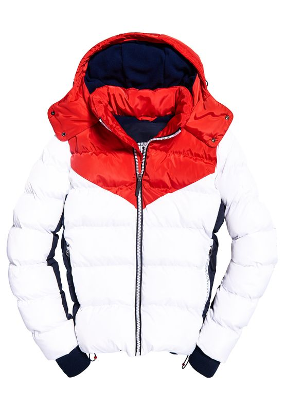 Superdry Jacke Herren ICON RACER SPORTS PUFFER Optic Weiss Rot Ansicht