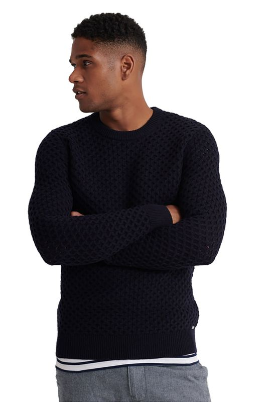 Superdry Pullover Herren EDIT CABLE CREW Dark Navy Ansicht