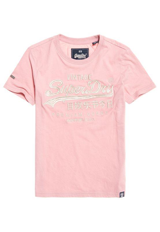 Superdry T-Shirt Damen PREMIUM GOODS LUXE EMB ENTRY TEE Pink Nectar Ansicht