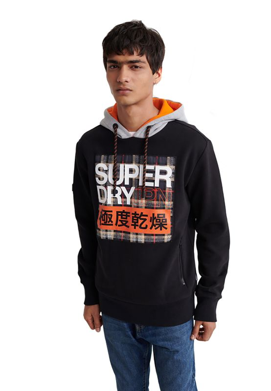 Superdry Sweater Herren CRAFTED CHECK CONTRAST Black Ansicht