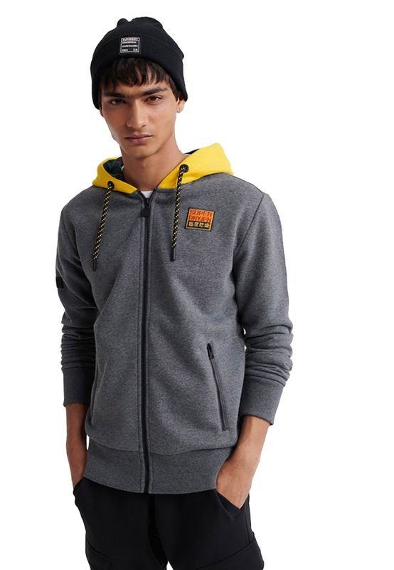 Superdry Zipper Herren CRAFTED CHECK ZIP HOOD Graphite Dark Marl Ansicht