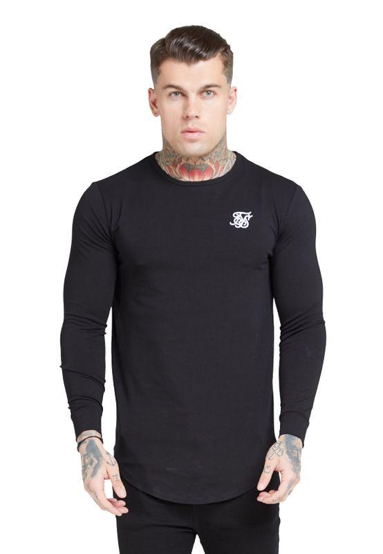SikSilk T-Shirt Herren L/S CORE GYM TEE SS-15822 Jet Black Ansicht