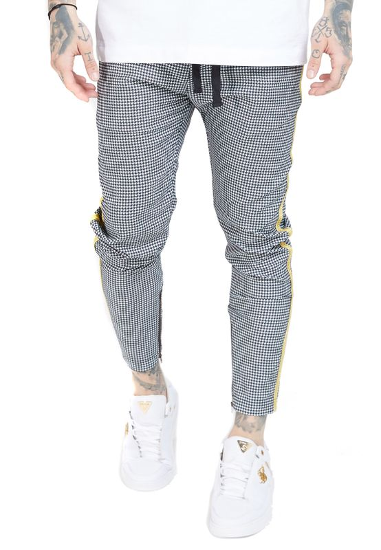 SikSilk Jogginghose Herren FITTED SMART TAPE JOGGE PANT SS-16171 Grey / Yellow Ansicht