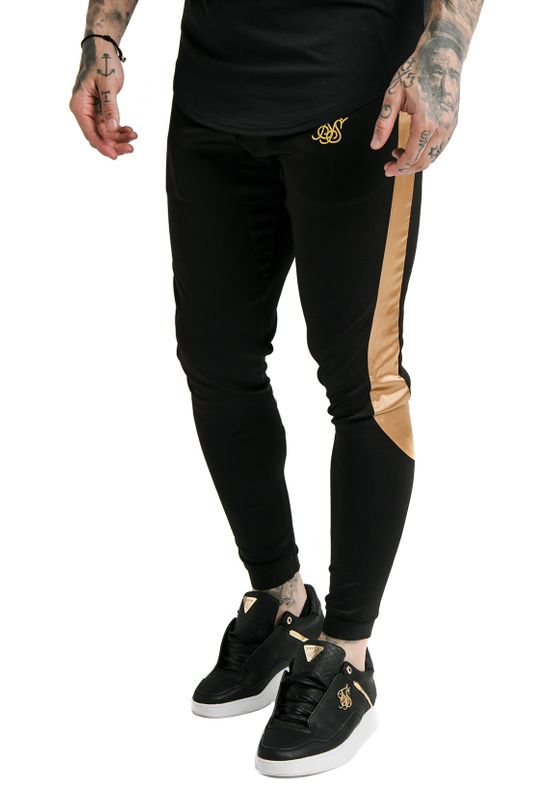 SikSilk Jogger Herren SCOPE SATIN PANEL PANEL TRACK PANTS SS-16306 Schwarz / Gold Ansicht