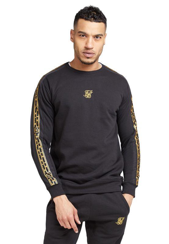 SikSilk Sweatshirt Herren NYLON PANEL CREW SWEAT SS-15429 Schwarz Ansicht