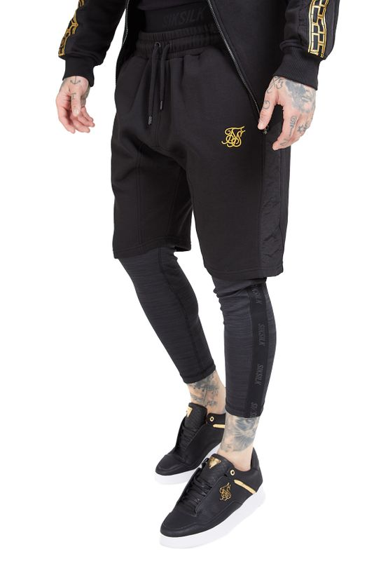 SikSilk Shorts Herren NYLON PANEL RELAXED FIT SHORT SS-15433 Black Gold Ansicht