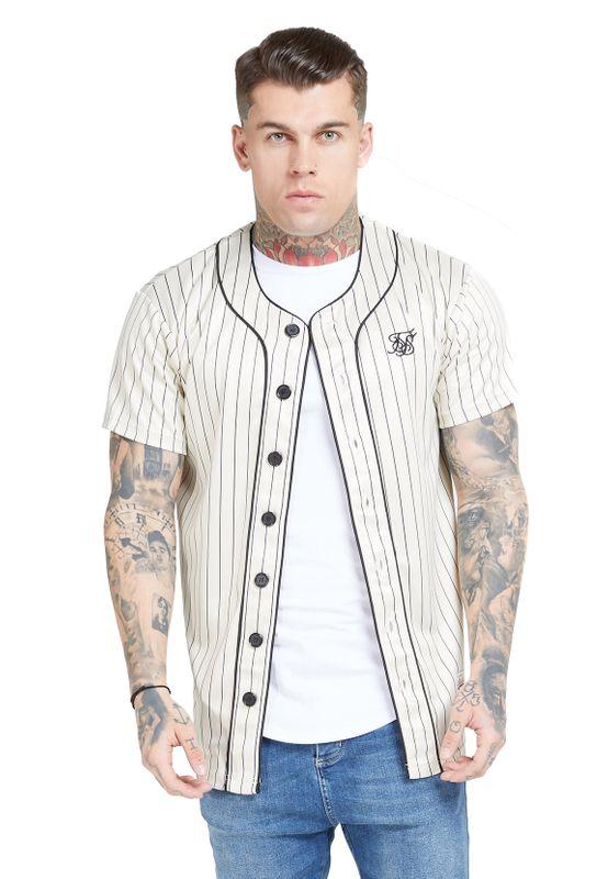 SikSilk T-Shirt Herren ORIGINAL BASEBALL JERSEY SS-15906  Beige Ansicht
